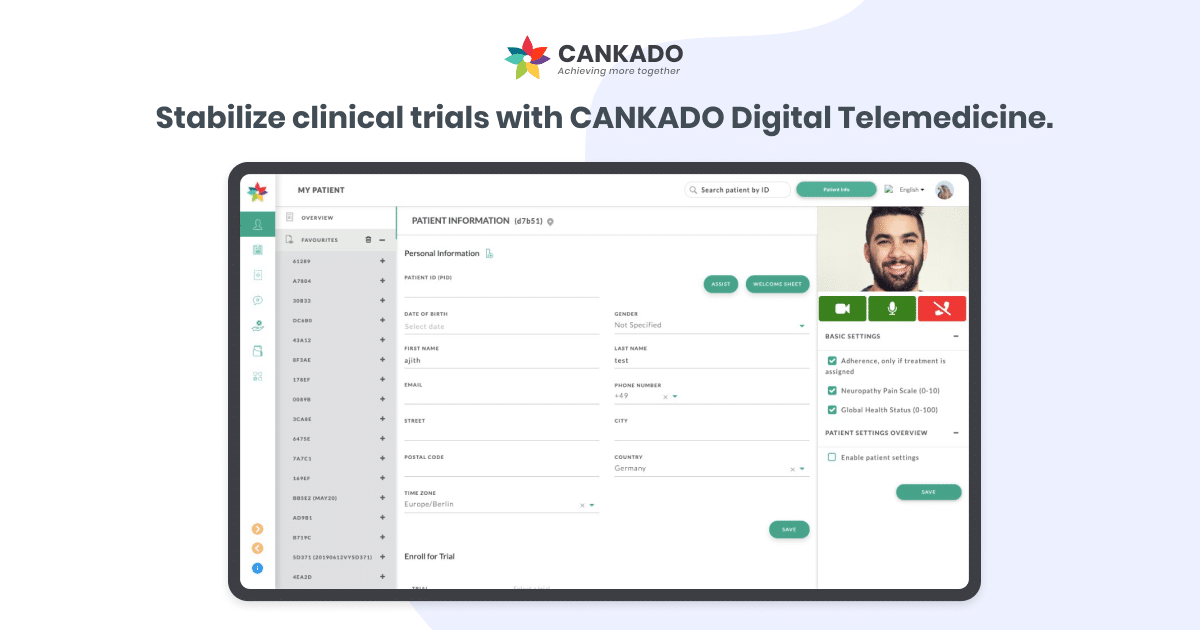 Stabilize clinical trials with CANKADO Digital Telemedicine.