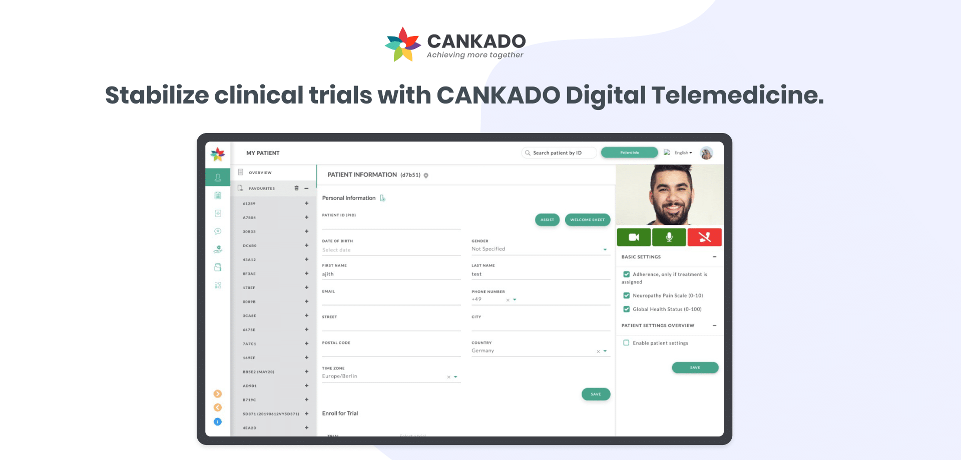 Stable running of clinical trials using CANKADO telemedicine 2