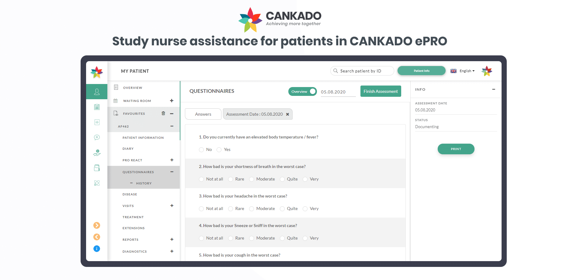 Study nurse assistance for patients in CANKADO ePRO